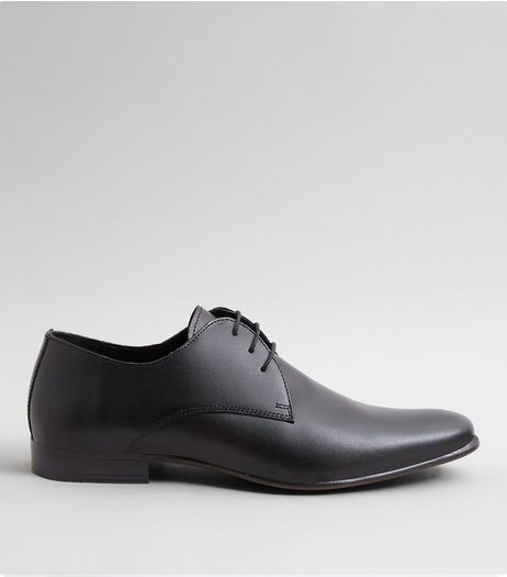Black Leather Pointed Derby Shoes | New Look