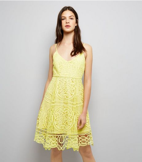Yellow Premium Lace Midi Skater Dress  | New Look
