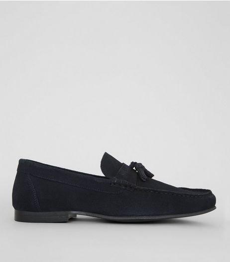 Navy Suede Tassle Loafers | New Look