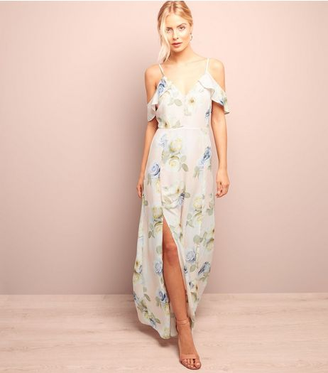 Pink Floral Print Split Side Cold Shoulder Maxi Dress  | New Look
