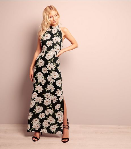Black Floral Print Halter Neck Maxi Dress | New Look