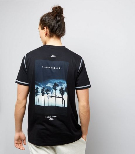 Black Venice Beach Bank Print T-Shirt | New Look