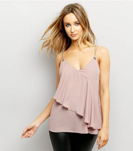 Mink Frill Trim Sleeveless Top  | New Look