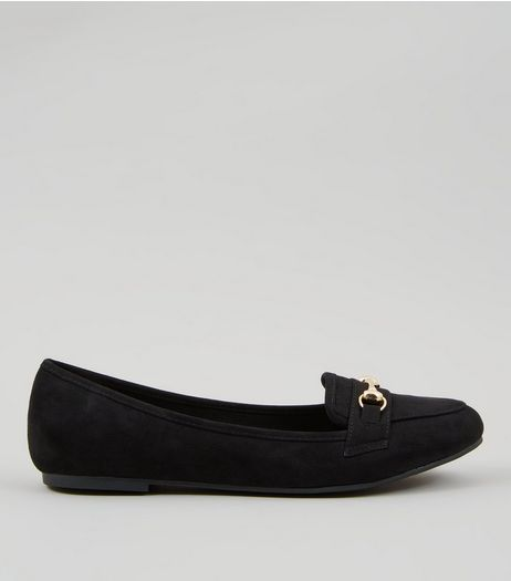 Black Suedette Snaffle Trim Loafers | New Look