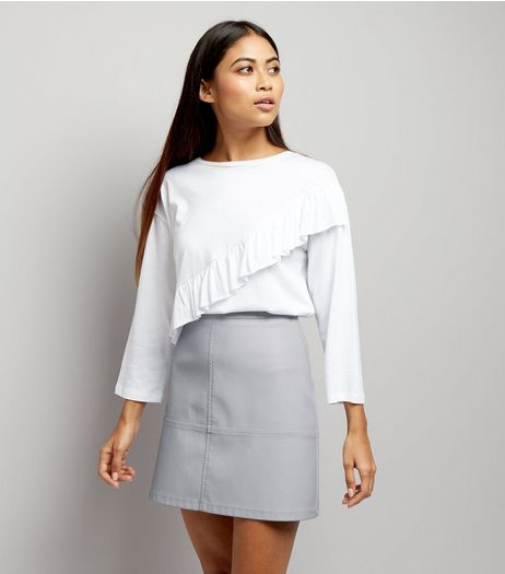 Petite Pale Blue Seam Trim Leather-Look Mini Skirt | New Look
