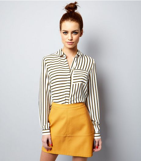 Petite Yellow Seam Trim Leather-Look Mini Skirt | New Look