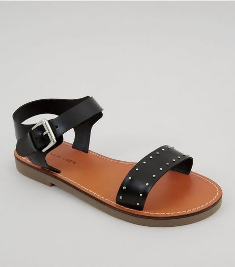 Wide Fit Black Studded Sandals  | New Look