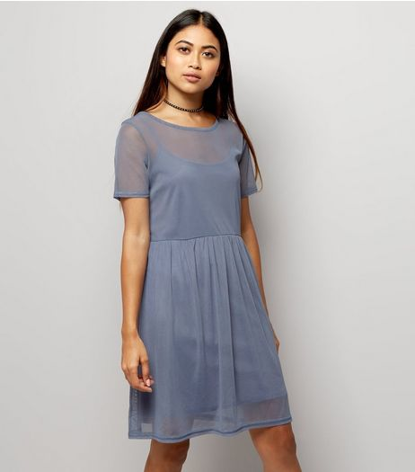 Petite Blue Mesh Smock Dress | New Look