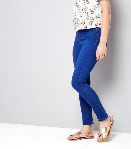 Teens Bright Blue High Waist Skinny Jeans | New Look