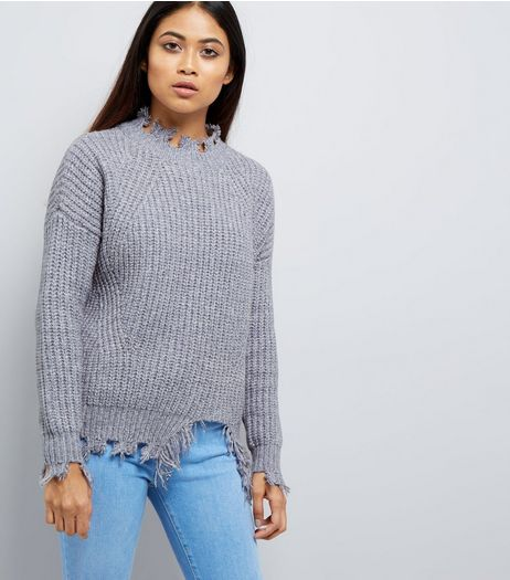 Petite Pale Blue Distressed Jumper | New Look