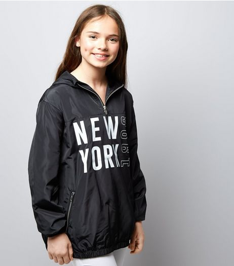 Teens Black New York Print Half Zip Hooded Jacket | New Look