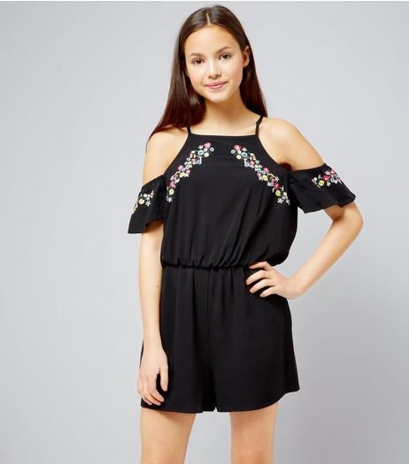 Teens Black Floral Embroidered Cold Shoulder Playsuit | New Look