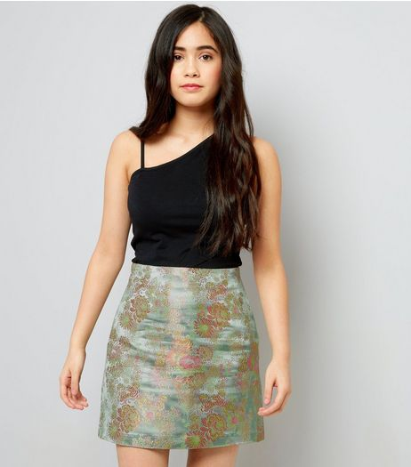 Teens Green Floral Jacquard Mini Skirt | New Look