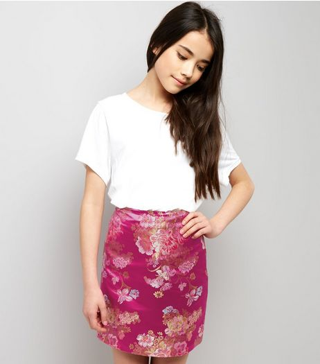 Teens Pink Floral Jacquard Mini Skirt | New Look