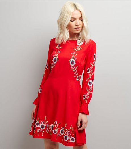 Petite Red Floral Embroidered Long Sleeve Skater Dress | New Look