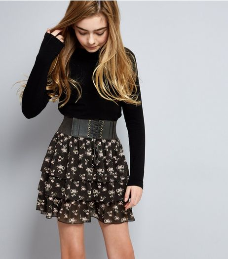 Teens Black Floral Layered Frill Lace-Up Skirt | New Look