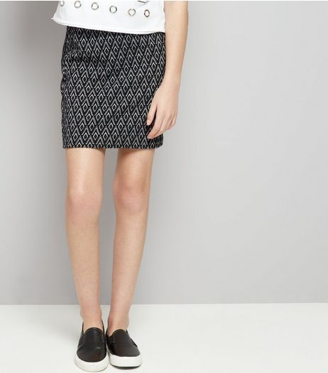 Teens Black Monochrome Jacquard Skirt | New Look