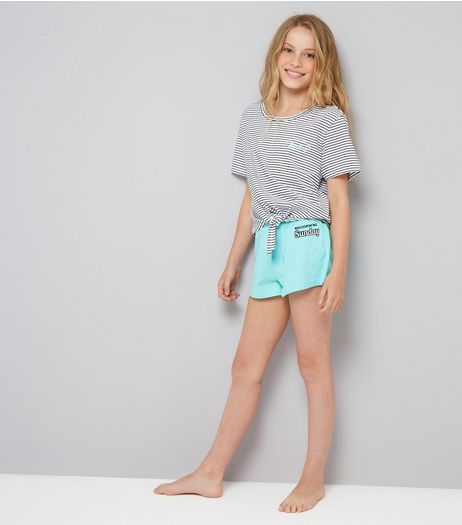 Teens Mint Green Stripe Sunday Slogan Pyjama Set | New Look