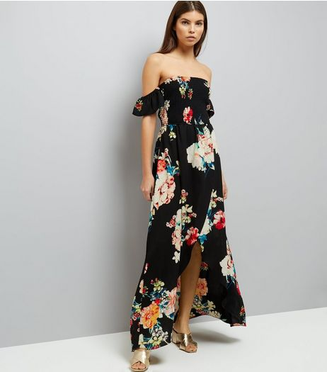 Black Floral Print Shirred Bardot Neck Dress  | New Look