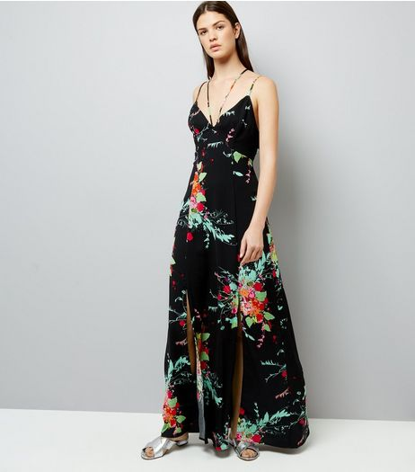 Black Floral Print Maxi Dress | New Look