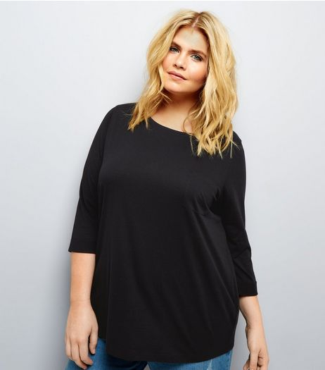 Curves Black 3/4 Sleeve Single Pocket Top | New Look