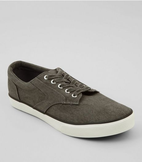 Grey Canvas Trainers | New Look
