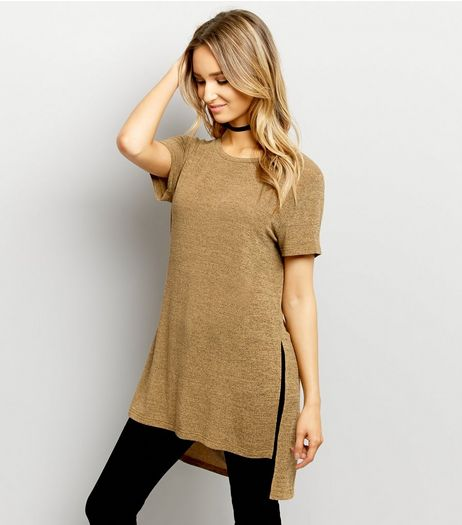 Yellow Split Side Longline T-Shirt  | New Look