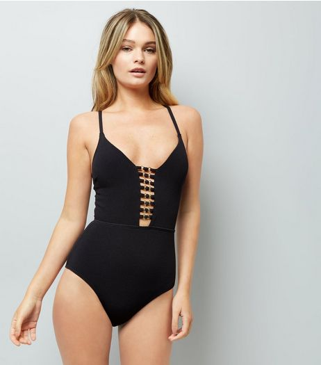 Black Plunge Lattice Front Swimsuit | New Look