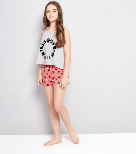 Teens Pink Sushi Roll Slogan Pyjama Set | New Look