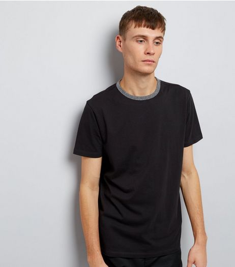 Black Contrast Neck Trim T-Shirt | New Look