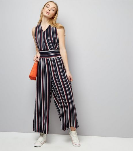 Mela Navy Stripe Shirred Jumpsuit | New Look