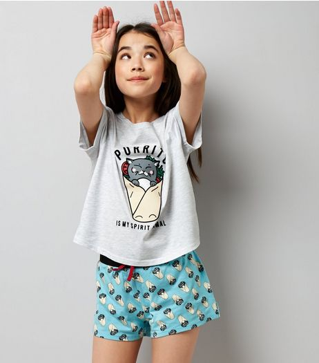 Teens Blue Purrito Is My Spirit Animal Pyjama Set | New Look