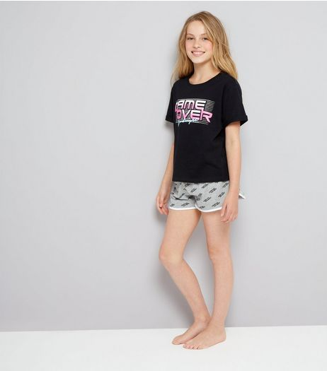 Teens Black Game Over Shorts Pyjama Set | New Look