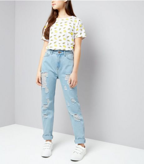 Teens Pale Blue Ripped Mom Jeans | New Look