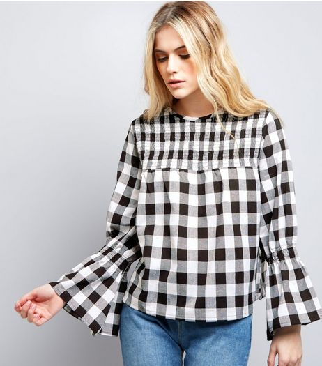 Influence Black Bell Sleeve Gingham Check Top  | New Look