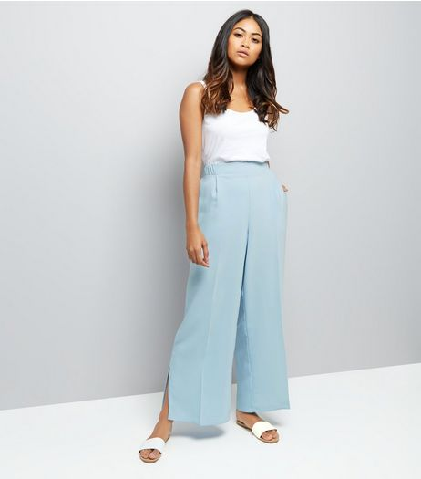 Petite Pale Blue Crepe Wide Leg Trousers | New Look