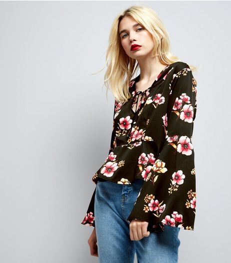 Influence Black Floral Print Tie Front Blouse  | New Look