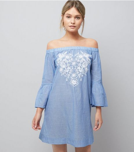 Blue Stripe Floral Embroidered Bardot Neck Beach Dress | New Look