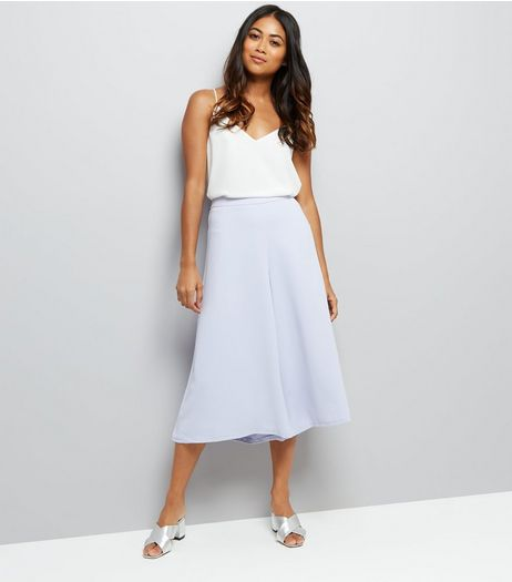 Petite Lilac Wide Leg Cropped Trousers | New Look