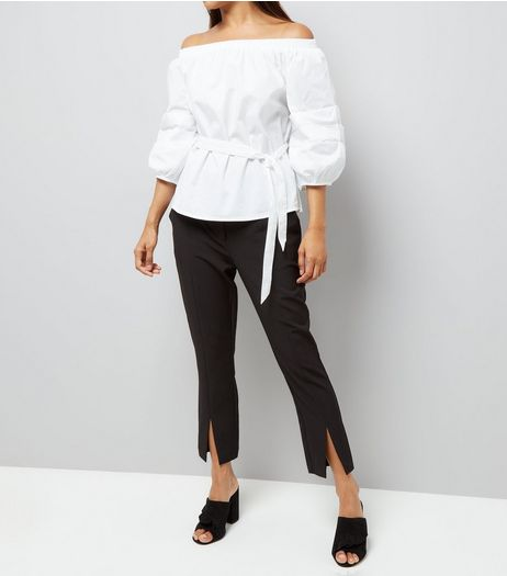 Petite Black Split Front Trousers | New Look