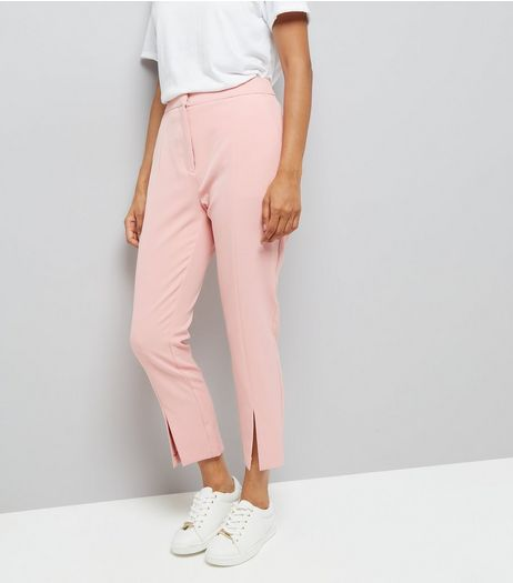 Petite Pink Split Front Trousers | New Look