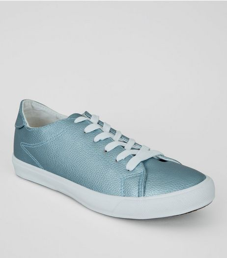 Blue Metallic Trainers | New Look