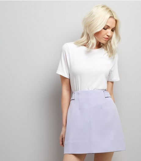Petite Lilac Crepe Eyelet Detail A-Line Skirt | New Look