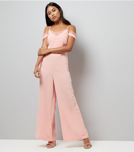 Petite Pink Lace Trim Cold Shoulder Jumpsuit | New Look