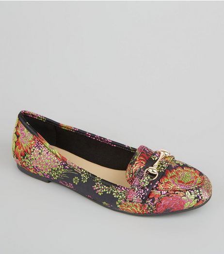 Black Floral Brocade Snaffle Trim Loafers | New Look