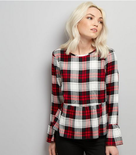 Petite White Check Peplum Hem Top | New Look