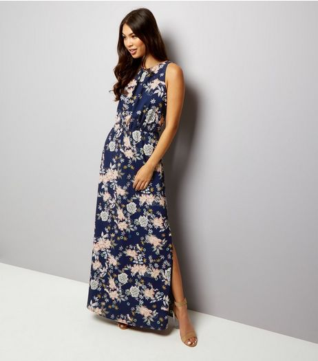 Mela Navy Floral Print Sleeveless Maxi Dress | New Look