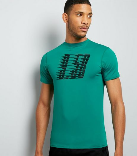 Petrol Blue Graphic Print Sports T-Shirt | New Look