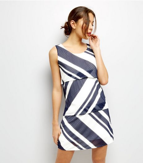 Mela White Stripe Layered Overlay Dress | New Look
