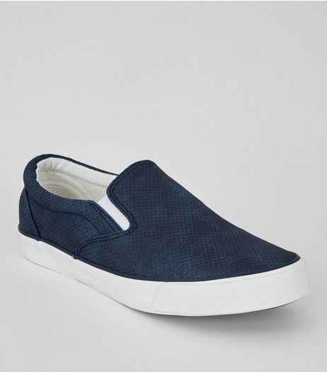 Navy Suedette Perforated Plimsolls | New Look